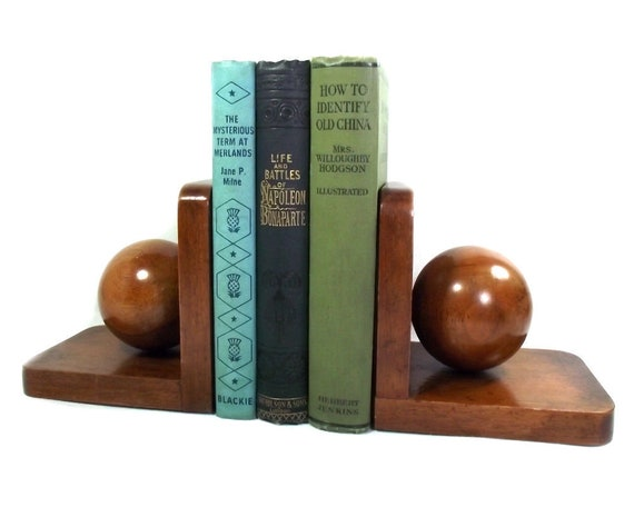 Art Deco Wooden Sphere Bookends