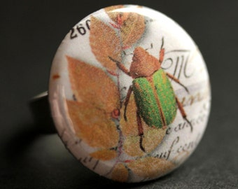 Green Beetle Ring. Bug Ring. Nature Ring. Insect Ring. Entomology Ring. Adjustable Ring. Silver Ring. Graphic Button Ring. Handmade Ring.