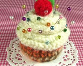 KNITTING PATTERN CUPCAKE Pincushion Amigurumi Toy knit crochet Food - Cream Frosting - Pincushion pdf Pattern Instant Download knit cupcakes