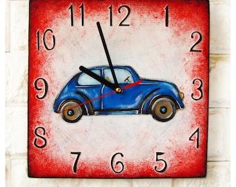 Retro Car Wall Clock, Home Decor for Children Kid Boy Girl Nursery Playroom