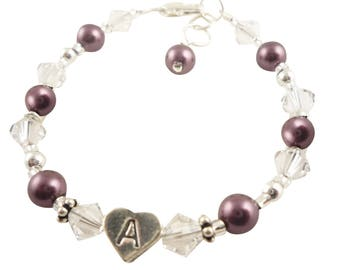 Flower Girl Bracelet with initial & crystals and pearls, burgundy or choose colors