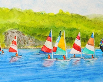 Dyer Dhows Sailboats Mystic Seaport Original watercolor matted and framed Mystic Seaport Connecticut CT sailing school