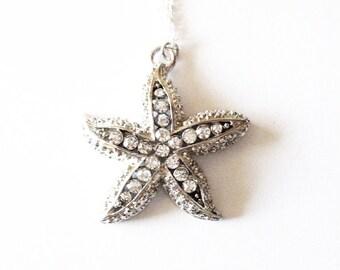 Beach Bridesmaid Necklace Silver Rhinestone Starfish Pendant Jewelry Mermaid Charm Bride Bridal Party Destination Wedding Womens Gift