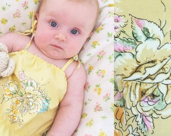 SALE| Baby Romper| Vintage Cotton| Yellow Floral