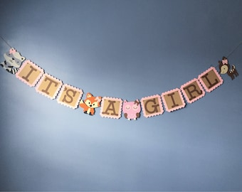 It's A Girl Woodland Banner - It's A Girl, Woodland Babyshower, Woodland Party, Woodland Nursery