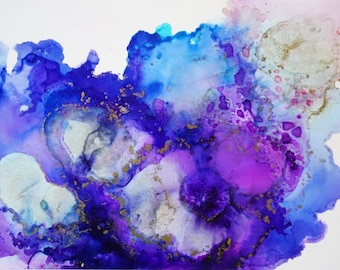 "Alcohol ink art, cosmic alcohol ink, abstract wall art - ""Blossom"""