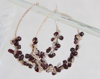 Red Garnet Hoop Earrings, Sterling Silver Wire Wrap Woven Coiled, Handmade Gemstone Bead Jewelry, January Birthstone Dramatic Boho Statement