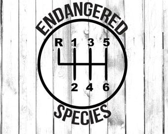 6 Speed Gear - Endangered Species - Stick Shift - Manual Car - Car/Truck/Laptop/Computer/Phone/Home Decor/Bumper Sticker - Vinyl Decal