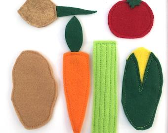 Wool Felt Vegetables, Flat Felt Veggies, Great for: Kids Craft, Scrapbooking, Art Supply, Busy Bag, Quiet Book