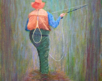Original Oil A TROUT FISHING DREAM