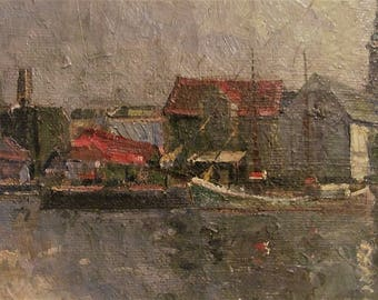 Vintage. Artist Christiansen. German oil painting. Canvas. Signed