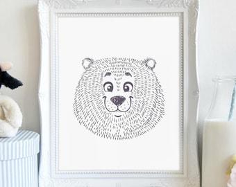 Happy Bear, Nursery Print, Animal Print, Wall Art, Printable Art, Printable Wall Décor, Instant Download, Digital Print
