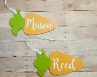 Carrot Tag Easter Basket Name Tag Rustic Wood Ornament Gift Tags Stocking Tag