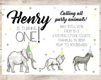 Zoo Animal Birthday Party Invitation