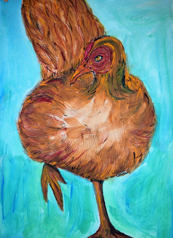 Painting, watercolor, Chicken