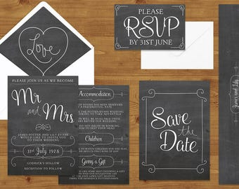 Chalkboard Grey Wedding Invitations Stationery Set - Printed or Digital Download - Chalkboard Wedding - DIY Wedding - Wedding Printable