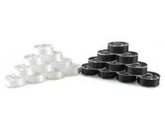 36 Size L Black and White Combo Prewound Bobbins - SA155 Replacement Bobbins - Fits Many Embroidery Machines - See Compatibility List