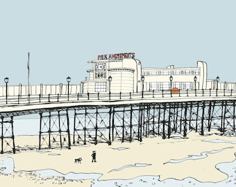 Worthing seaside print - Archival quality limited edition print 'Walking under the pier'