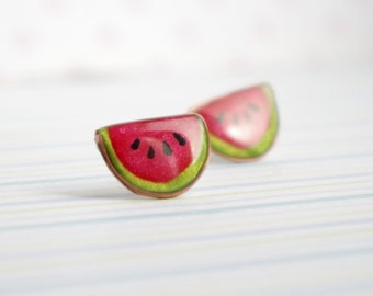 Cute watermelon stud earrings, Valentines day gift fruit kawaii stud earrings, polymer clay jewelry