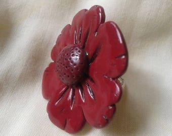 Fleur Rouge Adjustable ring