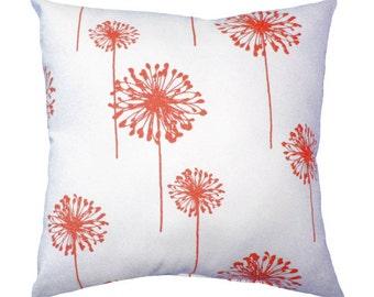 Coral Throw Pillow - Coral Dandelion Decorative Pillow Cover - Floral Throw Pillows - Dandelion Coral - Coral Accent Pillow - Coral Pillow