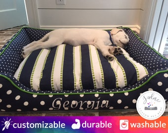 Large Dog Bed Personalized Dog Beds custom embroidery small medium x-large navy blue pet bed washable bolster polka dot