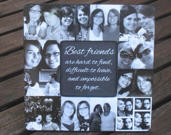 """Best Friends Collage Picture Frame, Personalized Maid of Honor, Custom Collage Bridesmaid Frame, Unique Sister, Birthday Gift, 8"""" x 8"""""""