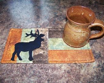 LOG CABIN - Elk - Applique Quilted Mug Rug PDF E-Pattern