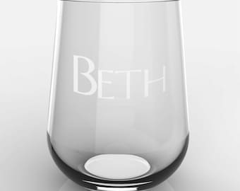 1 Personalized Name on Glass Stemless White or Red Wine Glass Custom Engraved