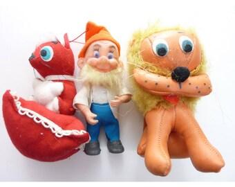 old vintage doll toys Lion, Dwarf, Red Skunk