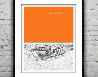 20% OFF Memorial Day Sale - Jones Beach Skyline Poster Art Print NJ New Jersey Long Island Item T1302