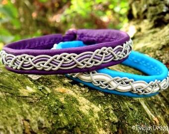 Vikings and Shieldmaidens Leather Bracelet HUGINN in Purple Reindeer and Pewter Braid