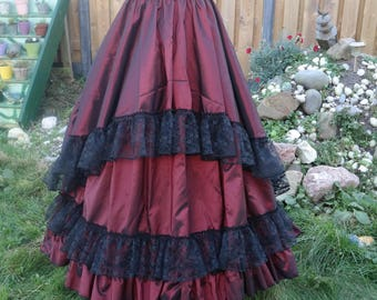 Fantastic red victorian skirt with black lace and bustle