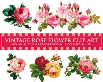 5 VINTAGE ROSE FLOWERS (Pack No. 1) - Floral Digital Clip Art Graphics for Personal or Commercial Use