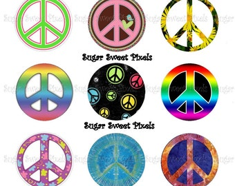 INSTANT DOWNLOAD Peace sign 1 inch circle Bottlecap images 2 4x6 sheets