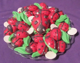 Ladybugs and flowers chocolates candy tray