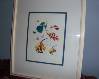 Vintage Aquatic Framed and Matted Original Watercolor