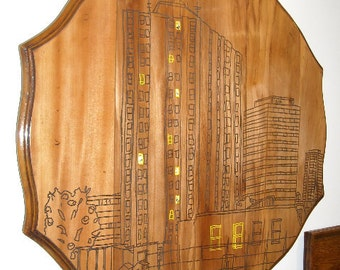 Up-cycled Antique Wooden Table Top featuring Waterloo Station Tower Block