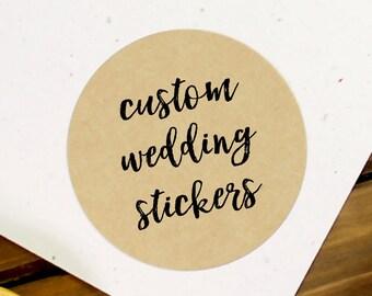 Kraft Wedding Sticker, Custom Wedding Label, Custom Wedding Stickers, Wedding Stickers, Wedding Favor Stickers, Custom Wedding (11-0001-036)