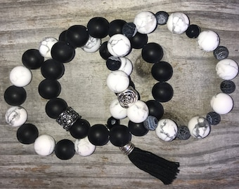 Black and white stacked bracelet Stretch bracelet Layered bracelet Boho bracelet