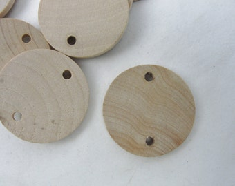 """10 birthday board tags wooden Circles, 1.25"""" wooden disc, wood disk 1 1/4"""" x 1/8"""" thick unfinished DIY"""