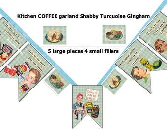 rEtRo inspired SASSY kitchen-coffee collage GARLAND/banner 7 piece 5.5x7.5 digital delivery