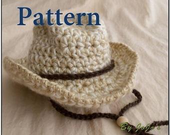 Baby Cowboy Hat  PATTERN - Baby Cowboy Hat - Western Hat  Pattern - Crochet cowboy Hat Pattern - Instant Download-by JoJosBootique