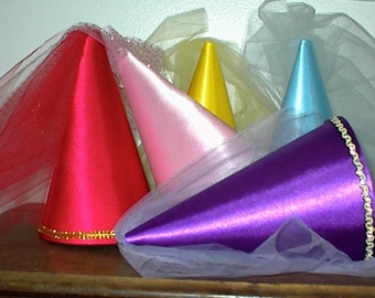 Cute Girls Royal Purple Satin Princess Damsel Renaissance Medieval tulle draped Cone Hat, hennin, henin, damsel, new!