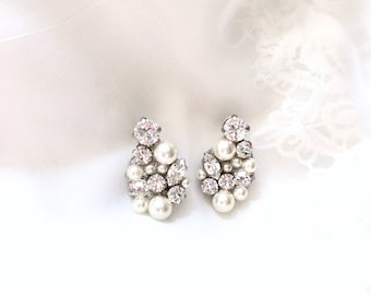 Wedding Earrings, Pearl Bridal Earrings, Rhinestone bridal earrings, Pearl earrings for bride, Swarovski Earrings, DREAMER