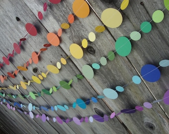 Rainbow party garlands - set of 6