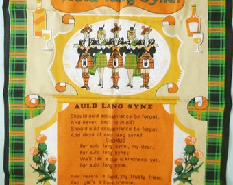Vintage  Scottish Air Auld Lang Syne Cotton Linen Tea Towel Made in Britian  in Orange, Green, Black, White and Tan Colors