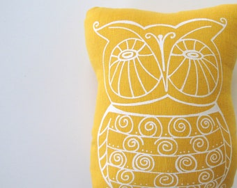 Pillow Cushion Stuffie - Owl- by Sweetnature Designs - Choose your fabric and ink color