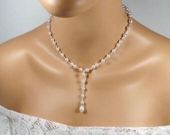 Pearl Bridal Necklace Swarovski Pearl Necklace Bridal Jewelry  Wedding Jewelry