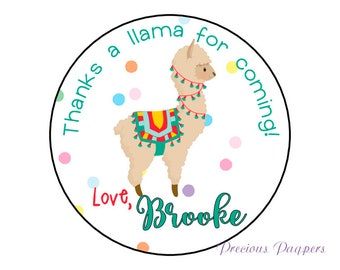 Llama stickers personalized,  printed and shipped to you, llama stickers for treat bags or llama birthday party alpaca stickers